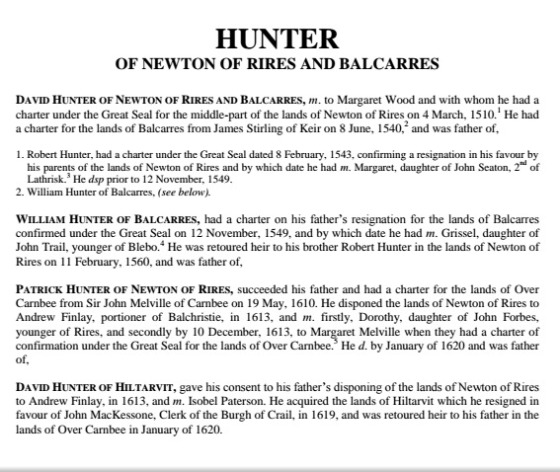 Hunters of Newton of Rires and Balcarres