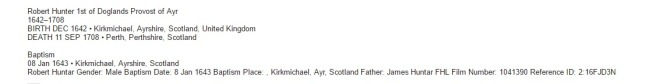 Robert Hunter 1st of Doglands Provost of Ayr