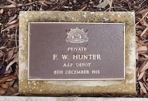 F. W. Hunter Monumental Inscription
